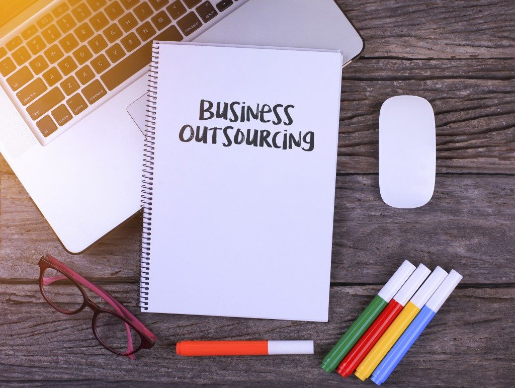 Notebook with written text Business Outsourcing,