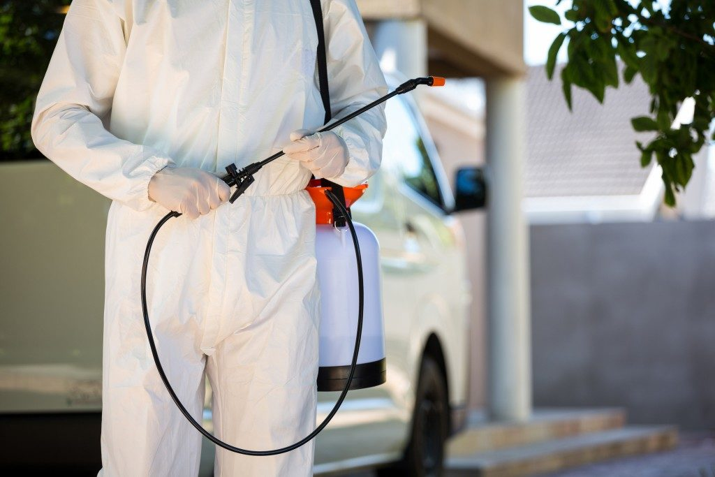 Pest control holding a sprayer pump
