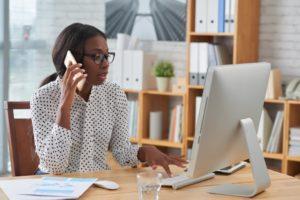 Entrepreneur talking on the phone