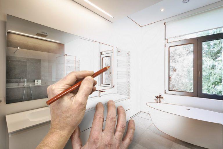 Sketching bathroom design