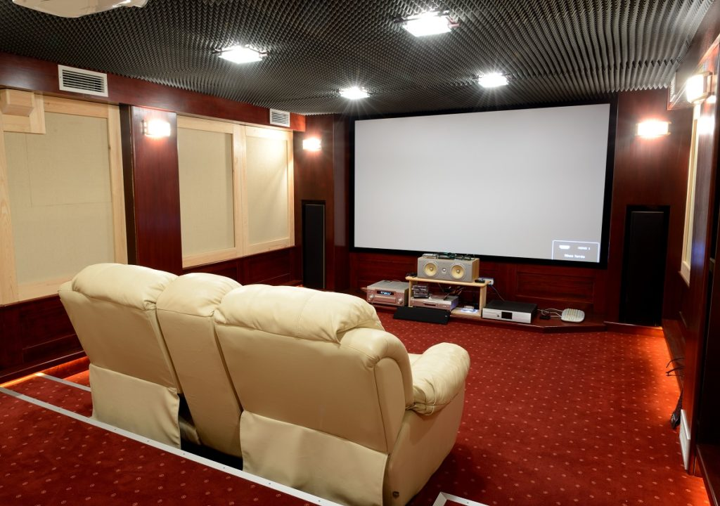 Home theater with sound proof ceiling