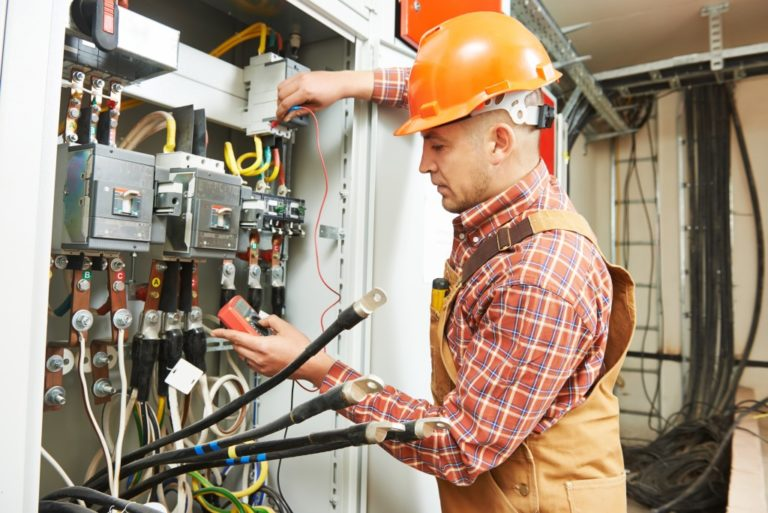 engineer working on cable