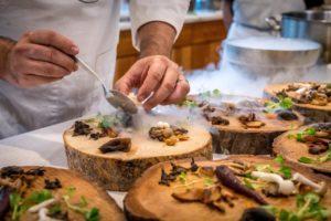 Chef preparing an appetizer set