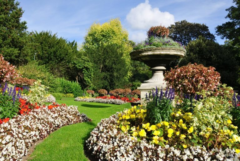landscaping with flowerbeds