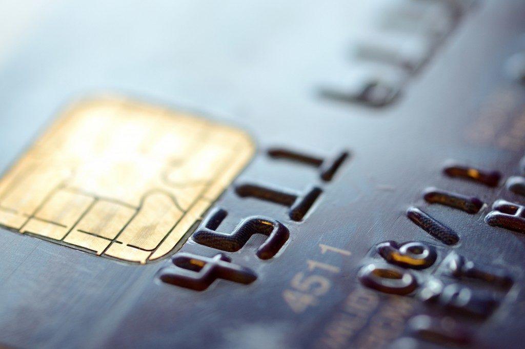 Macro shot of old credit card
