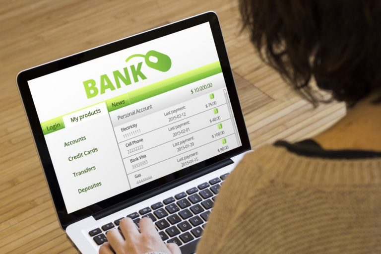 bank website on a laptop screen