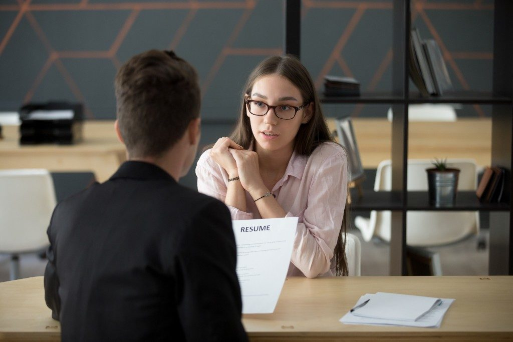 HR interviewing an applicant