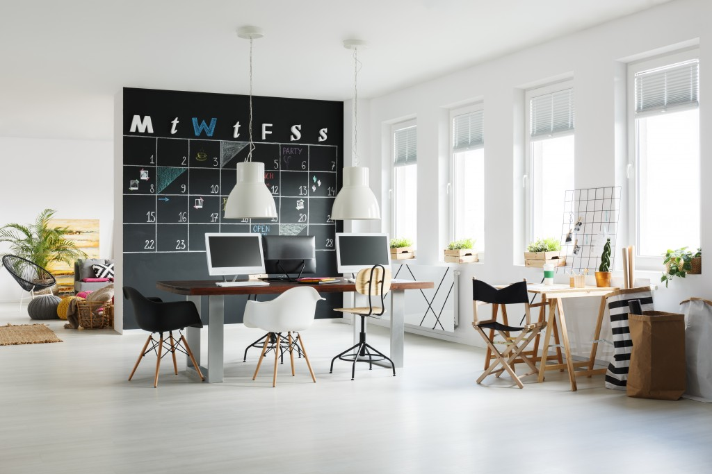 minimalist office, with natural light