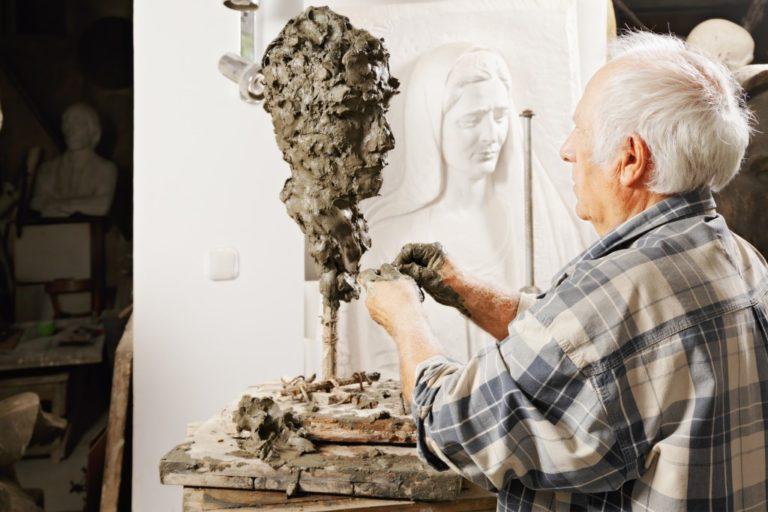Sculptor creating a piece