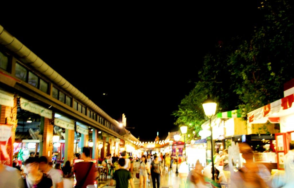 rows of food stalls