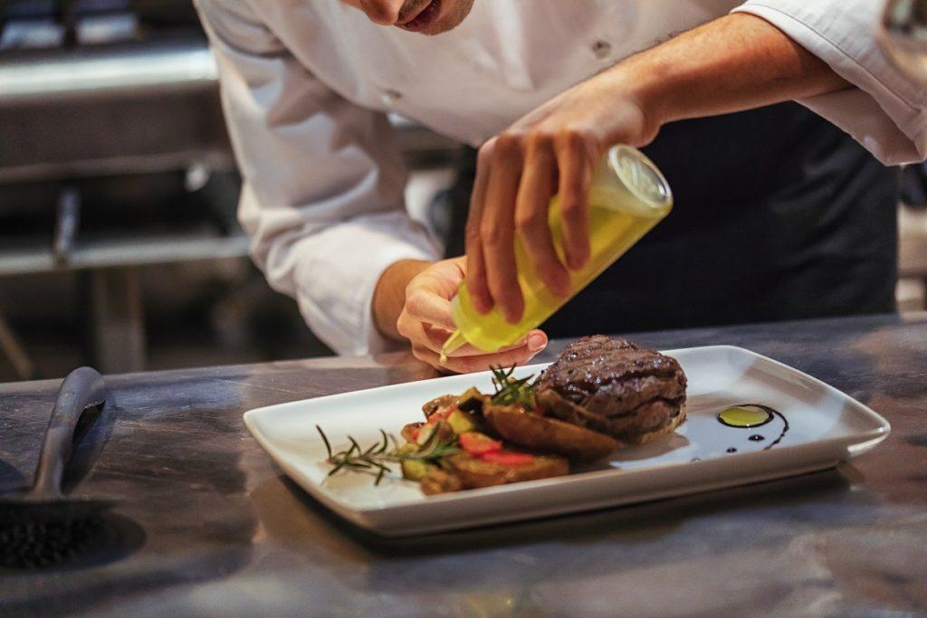 chef plating the dish